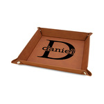 """Name & Initial (for Guys) 6"""" x 6"""" Faux Leather Valet Tray w/ Name and Initial"""