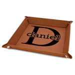 """Name & Initial (for Guys) 9"""" x 9"""" Leather Valet Tray w/ Name and Initial"""
