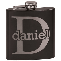 Name & Initial (for Guys) Black Flask Set (Personalized)