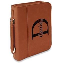 Name & Initial (for Guys) Leatherette Bible Cover with Handle & Zipper - Large- Single Sided (Personalized)