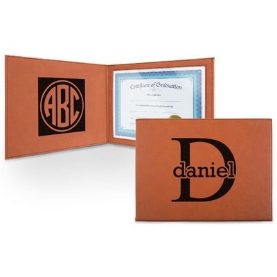 Name & Initial (for Guys) Leatherette Certificate Holder (Personalized)