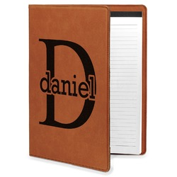 Name & Initial (for Guys) Leatherette Portfolio with Notepad (Personalized)