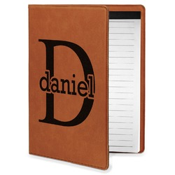 Name & Initial (for Guys) Leatherette Portfolio with Notepad - Small - Single Sided (Personalized)