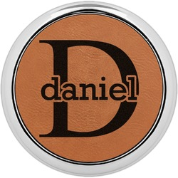 Name & Initial (for Guys) Leatherette Round Coaster w/ Silver Edge - Single or Set (Personalized)