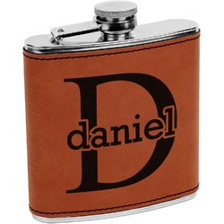 Name & Initial (for Guys) Leatherette Wrapped Stainless Steel Flask (Personalized)