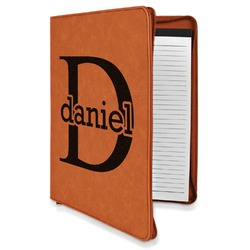 Name & Initial (for Guys) Leatherette Zipper Portfolio with Notepad (Personalized)