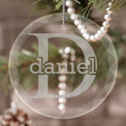 Name & Initial (for Guys) Engraved Glass Ornament (Personalized)
