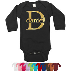 Name & Initial (for Guys) Foil Bodysuit - Long Sleeves - 6-12 months - Gold, Silver or Rose Gold (Personalized)