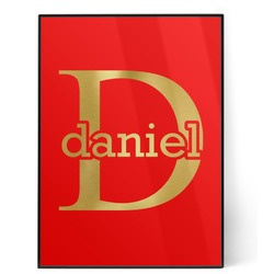 Name & Initial (for Guys) 5x7 Red Foil Print (Personalized)