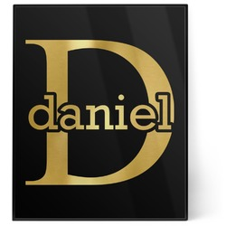 Name & Initial (for Guys) 8x10 Foil Wall Art - Black (Personalized)