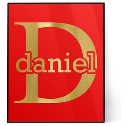 Name & Initial (for Guys) 8x10 Foil Wall Art - Red (Personalized)