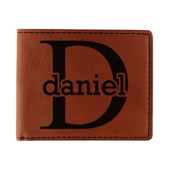 Name & Initial (for Guys) Leatherette Bifold Wallet (Personalized)
