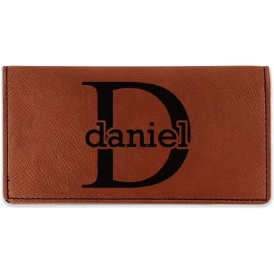 Name & Initial (for Guys) Leatherette Checkbook Holder (Personalized)