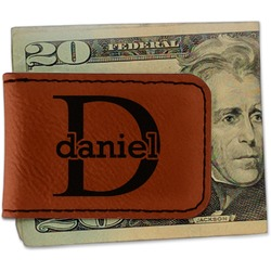 Name & Initial (for Guys) Leatherette Magnetic Money Clip - Single Sided (Personalized)