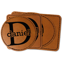Name & Initial (for Guys) Faux Leather Iron On Patch (Personalized)