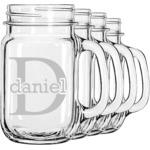 Name & Initial (for Guys) Mason Jar Mugs (Set of 4) (Personalized)