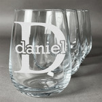 Name & Initial (for Guys) Stemless Wine Glasses (Set of 4) (Personalized)