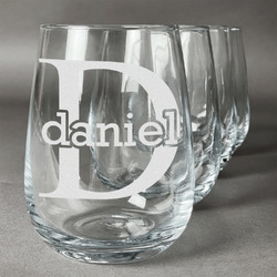 Name & Initial (for Guys) Wine Glasses (Stemless- Set of 4) (Personalized)