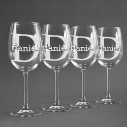 Name & Initial (for Guys) Wineglasses (Set of 4) (Personalized)