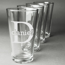 Name & Initial (for Guys) Beer Glasses (Set of 4) (Personalized)