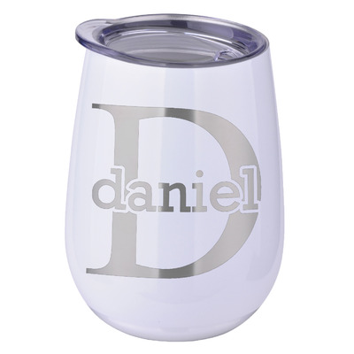 Name & Initial (for Guys) Stemless Wine Tumbler - 5 Color Choices - Stainless Steel  (Personalized)
