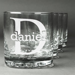 Name & Initial (for Guys) Whiskey Glasses (Set of 4) (Personalized)