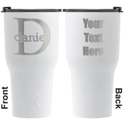 Name & Initial (for Guys) RTIC Tumbler - White - Engraved Front & Back (Personalized)