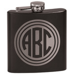 Round Monogram Black Flask Set (Personalized)