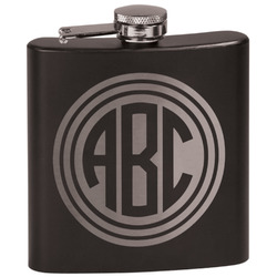 Round Monogram Black Flask (Personalized)