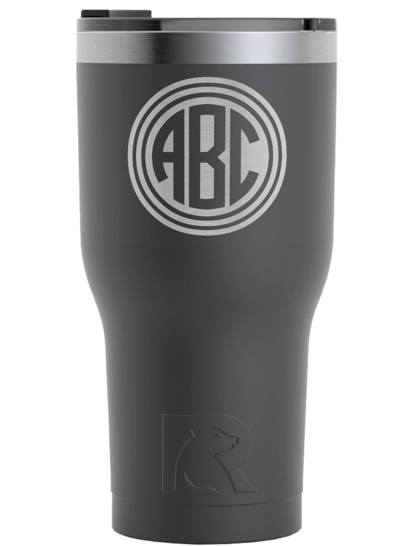 be225db1c28 Round Monogram RTIC Tumbler - Black (Personalized) - YouCustomizeIt