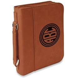 Round Monogram Leatherette Bible Cover with Handle & Zipper - Large- Single Sided (Personalized)