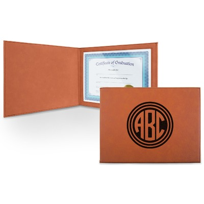 Round Monogram Leatherette Certificate Holder - Front (Personalized)