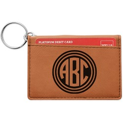 Round Monogram Leatherette Keychain ID Holder (Personalized)