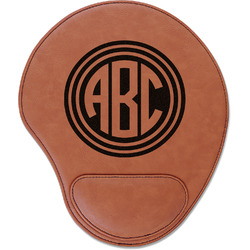 Round Monogram Leatherette Mouse Pad with Wrist Support (Personalized)