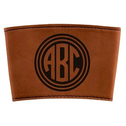 Round Monogram Leatherette Mug Sleeve (Personalized)