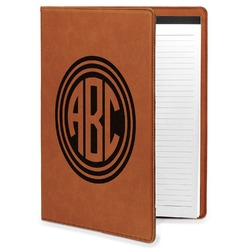 Round Monogram Leatherette Portfolio with Notepad (Personalized)