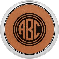Round Monogram Leatherette Round Coaster w/ Silver Edge - Single or Set (Personalized)