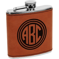 Round Monogram Leatherette Wrapped Stainless Steel Flask (Personalized)