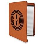 Round Monogram Leatherette Zipper Portfolio with Notepad (Personalized)