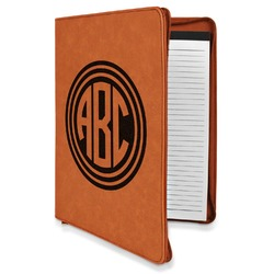 Round Monogram Leatherette Zipper Portfolio with Notepad (Personalized)