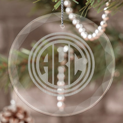 Round Monogram Engraved Glass Ornament (Personalized)