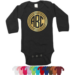 Round Monogram Foil Bodysuit - Long Sleeves - 0-3 months - Gold, Silver or Rose Gold (Personalized)