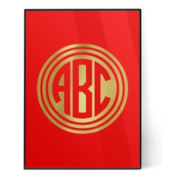 Round Monogram 5x7 Red Foil Print (Personalized)