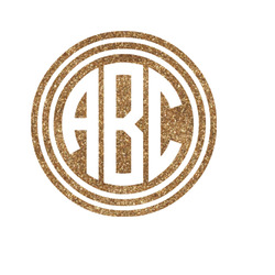 """Round Monogram Glitter Iron On Transfer - Up to 15""""x15"""" (Personalized)"""
