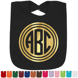 Round Monogram Foil Baby Bibs (Select Foil Color) (Personalized)