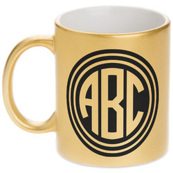 Round Monogram Gold Mug (Personalized)