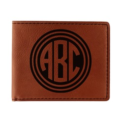 Round Monogram Leatherette Bifold Wallet (Personalized)
