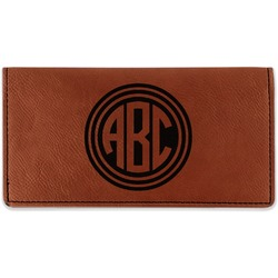 Round Monogram Leatherette Checkbook Holder (Personalized)