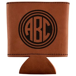 Round Monogram Leatherette Can Sleeve (Personalized)