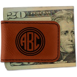 Round Monogram Leatherette Magnetic Money Clip (Personalized)